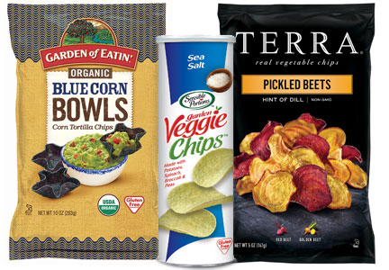 Hain Celestial snacks - Garden of Eatin' blue corn tortilla chip bowls, Sensible Portions stackable Veggie Chips, Terra Pickled Beets Chips