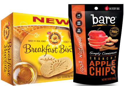 Healthy snacks - breakfast biscuits, apple chips