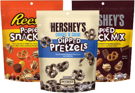 Hershey Popped Snack Mix and Dipped Pretzels