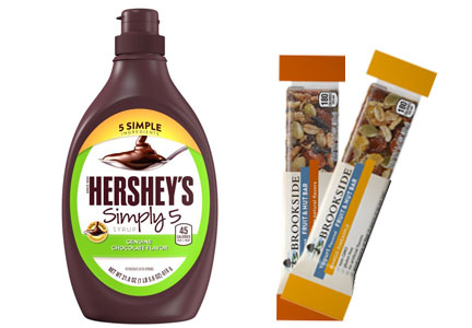 Hershey clean label Brookside yogurt bars and Simply 5 syrup