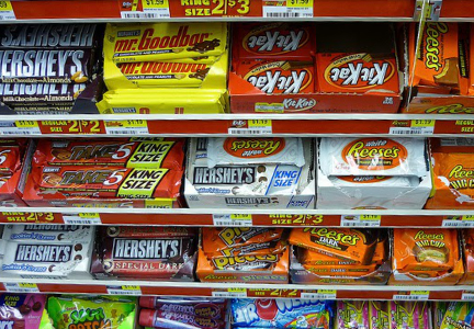 Hershey candy in checkout lane