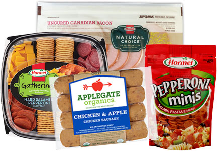 Hormel products - Gatherings, Applegate, Natural Choice, Pepperoni