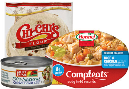 Hormel products with less sodium - Chi Chi's tortillas, Compleats, Valley Fresh chicken