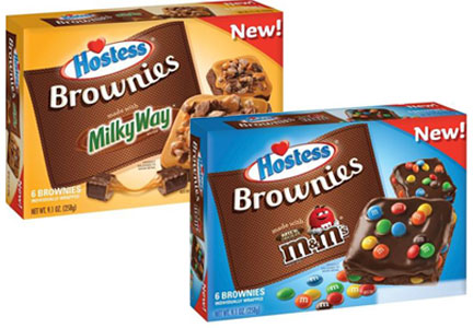 Hostess brownies with M&Ms, Milky Way