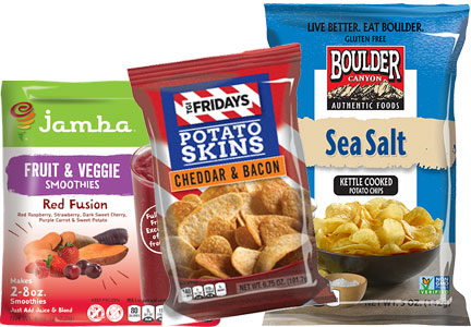 Jamba Juice smoothie mix, TGI Friday's bacon cheddar potato skins, Boulder Canyon chips - Inventure Foods