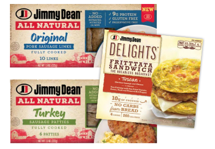 Jeam Dean natural sausage and Jimmy Dean Delights, Tyson Foods