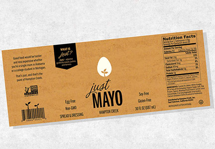 Just Mayo new label, Hampton Creek