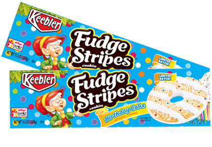 Keebler birthday cake Fudge Stripes cookies, Kellogg