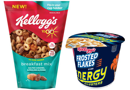 Kellogg To Go cereal mix, Kellogg grab-and-go cereal cup