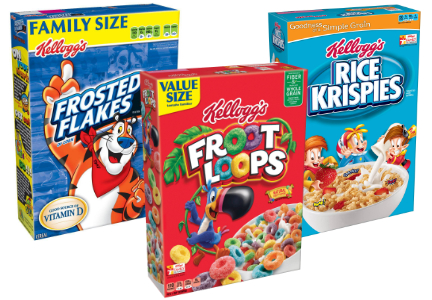 Kellogg cereal - Frosted Flakes, Froot Loops, Rice Krispies