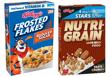 Kellogg reduced sugar Frosted Flakes and Nutri-Grain cereal with more fiber and protein