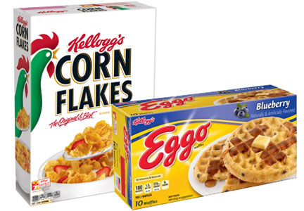 Kellogg cereal, Eggo waffles, no artificial ingredients