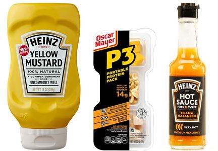Kraft Heinz yellow mustard, P3 protein packs, hot sauce