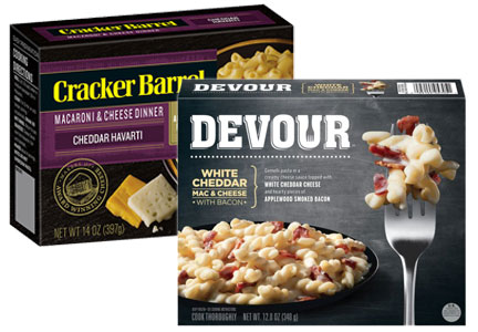 Kraft Heinz Devour meals and Cracker Barrel macaroni and cheese