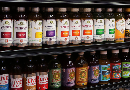 Kombucha on convenience store shelves