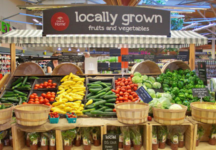 Locally grown produce in grocery store