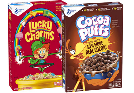 Lucky Charms and Cocoa Puffs, General Mills