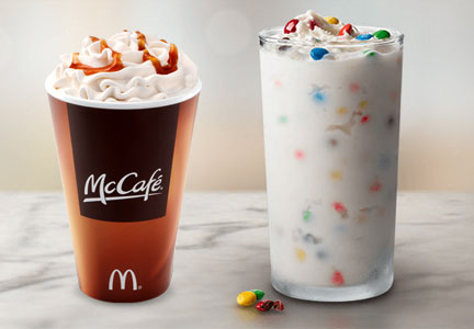 McDonald's McFlurry and McCafe hot coffee