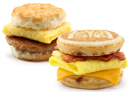 McDonald's breakfast sandwiches with eggs