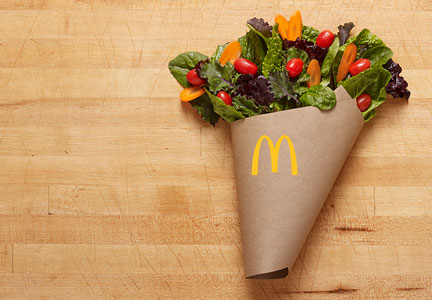 McDonald's new salad blend featuring red leaf lettuce and curls of crisp carrots combined with chopped romaine, baby spinach and baby kale