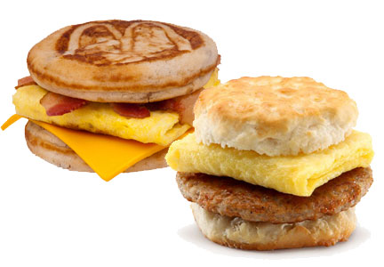 McDonald's all-day breakfast sandwiches: McGriddles and biscuits