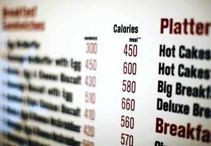 Calorie labels on menu, F.D.A., nutrition labeling