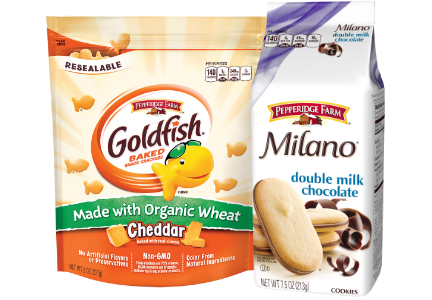 Campbell Soup Pepperidge Farm Milano cookies and Goldfish organic crackers
