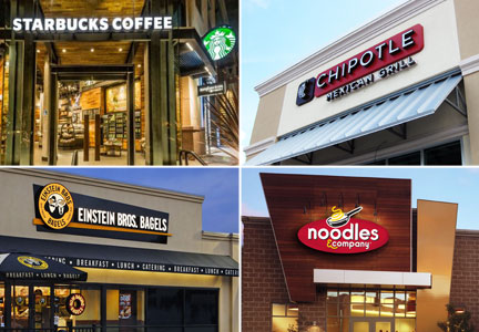 Mile Hi food service customers - Starbucks, Chipotle, Einstein Bros. Bagels, Noodles & Co.