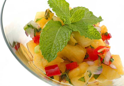 Mint and pineapple salsa