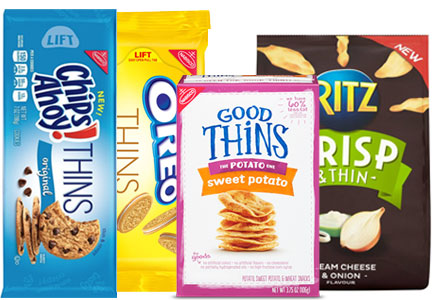 Oreo Thins, Chips Ahoy! Thins, Ritz thins, Good Thins, Mondelez