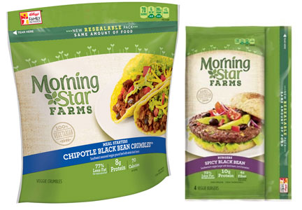 Kellogg Morningstar resealable packaging for veggie burgers