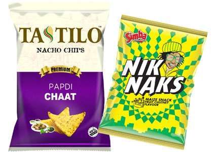 Papdi Chaat nacho chips, fruit chutney flavored maize snack