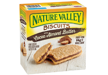 General Mills Nature Valley cocoa almond butter biscuits with whole grains