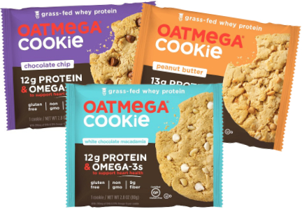 Oatmega cookies with grass-fed whey protein