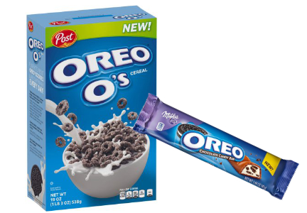 Oreo O's cereal and Milka Oreo candy bars, Mondelez International, cookies