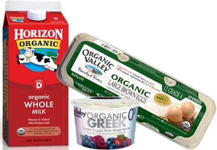 Organic milk, yogurt, eggs