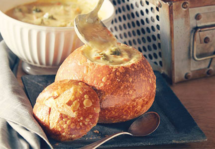 Panera Broccoli Cheddar soup in bread bowl