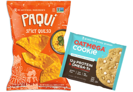 Paqui chips and Oatmega cookie, Amplify Snack Brands