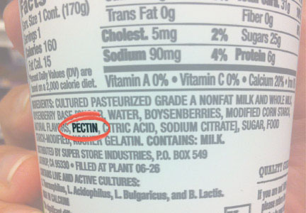 Pectin on nutrition facts ingredient panel