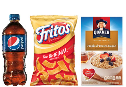 Pepsi bottle, Fritos, Quaker oatmeal