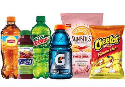 Pepsi products, Lipton tea, Naked Juice, Mtn Dew, Gatorade Cheetos