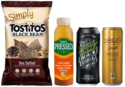 PepsiCo, Frito-Lay, Tostitos Simply Black Bean Chips, Mtn Dew Black Label, Pepsi 1893, Naked Cold Pressed Juice