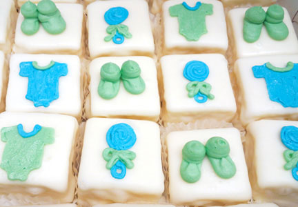 Petits fours decorated for a baby shower