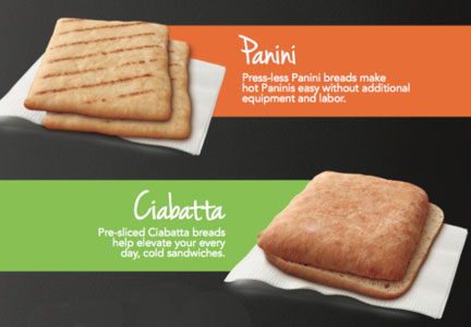 General Mills Pillsbury panini and ciabatta bread for K-12 food service