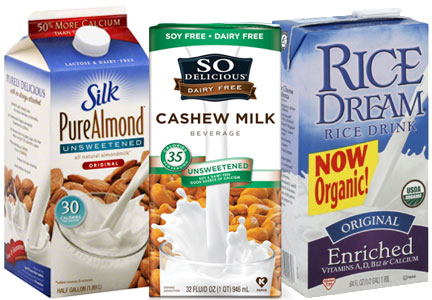 Plant-based milk, almond milk, cashew milk, rice milk