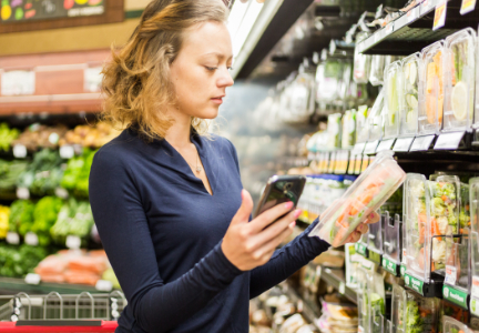 Shopping for fresh produce while using smart phone