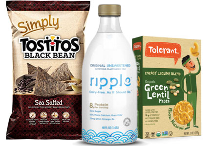 Pulse products - Ripple milk alternative, Toleran green lentil pasta, Tostitos simply black bean chips