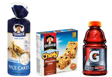 Quaker products - chewy granola bars, rice cakes, Gatorade