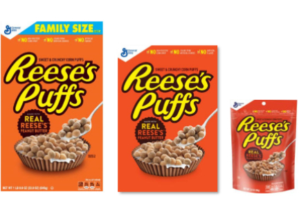 Reese's Puffs different pack sizes, General Mills