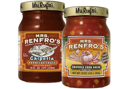 Mrs. Renfro's chipotle salsa and barbecue sauce